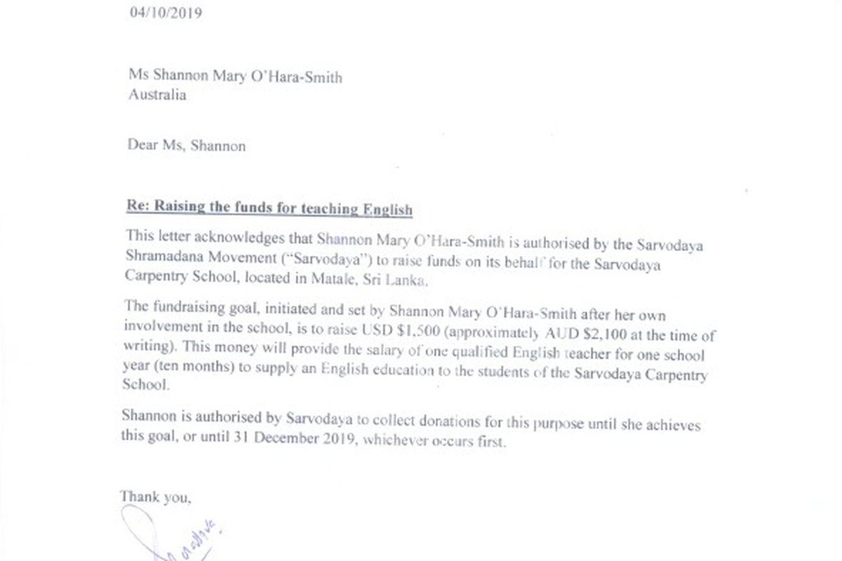 Fundraiser by Shannon O'Hara-Smith : English Teacher for Sri